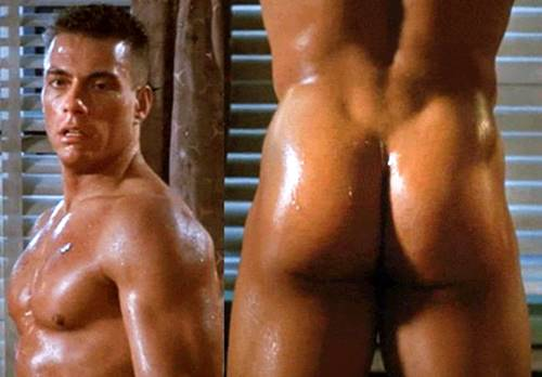 Ator Van Damme mostrando o bumbum