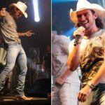 Cantor Mariano de pau duro na calça em show